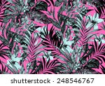 seamless monochrome jungle... | Shutterstock . vector #248546767