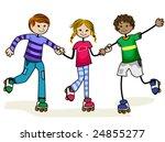 roller skate kids   vector | Shutterstock .eps vector #24855277