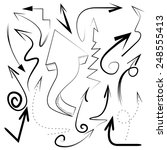hand drawn arrows collection  | Shutterstock .eps vector #248555413