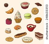 set of the hand drawn sweets | Shutterstock .eps vector #248633353