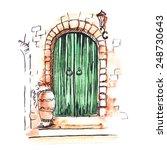 green door on the street of the ...