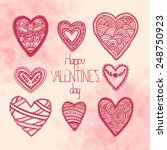 set of hand drawn doodle hearts ... | Shutterstock .eps vector #248750923