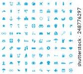 100 beach icons  blue on white... | Shutterstock . vector #248776297