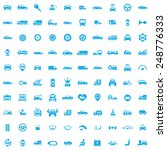 100 car icons  blue on white... | Shutterstock . vector #248776333