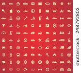 100 auto icons  yellow on red... | Shutterstock . vector #248792803
