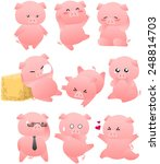 funny pig cartoon collection | Shutterstock .eps vector #248814703