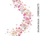 Постер, плакат: pink roses petals and