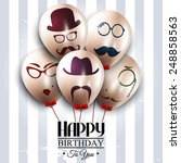 vector birthday card. balloons... | Shutterstock .eps vector #248858563