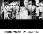beauty collage. faces of women. ... | Shutterstock . vector #248861743