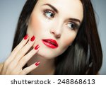 natural woman face with red... | Shutterstock . vector #248868613