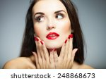 natural woman face with red... | Shutterstock . vector #248868673