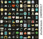 universal 100 flat icons set... | Shutterstock . vector #248900317