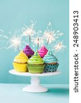 colorful cupcakes decorated... | Shutterstock . vector #248903413