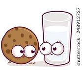 cartoon milk and cookie. | Shutterstock .eps vector #248912737