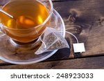 Green Tea In A Glass Teacup On...