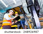 asian fork lift truck driver... | Shutterstock . vector #248926987
