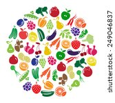illustration with fruits and... | Shutterstock . vector #249046837