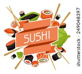 background with sushi. japanese ... | Shutterstock .eps vector #249048397
