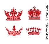 hand drawn heraldic crown set | Shutterstock .eps vector #249049687