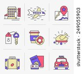 flat line icons set. vacation ... | Shutterstock .eps vector #249055903