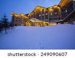 Luxury Building In Snow Night...