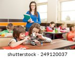 children working with... | Shutterstock . vector #249120037