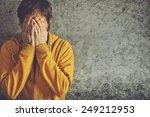 upset depressive adult man... | Shutterstock . vector #249212953