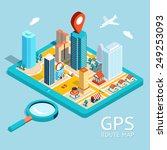 map a small town on the tablet... | Shutterstock .eps vector #249253093
