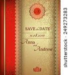 invitation card baroque golden... | Shutterstock .eps vector #249273283