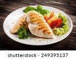 roast chicken fillet and... | Shutterstock . vector #249395137
