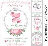 watercolor wedding  invitation... | Shutterstock .eps vector #249396007