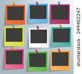 9 colored photo frames on the... | Shutterstock .eps vector #249402247