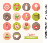 set of round flat child icons.... | Shutterstock .eps vector #249432883