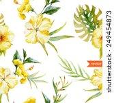 Watercolor  Hibiscus  Yellow ...