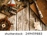 vintage nautical things on wood ... | Shutterstock . vector #249459883