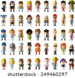 set of vector cute character... | Shutterstock .eps vector #249460297