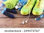 different tools for sport on... | Shutterstock . vector #249473767