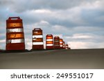 large traffic cones on highway