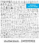 vector set of hand drawn... | Shutterstock .eps vector #249595903