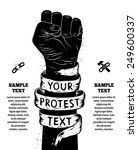 raised fist held in protest.... | Shutterstock .eps vector #249600337