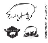 set of premium pork meat labels.... | Shutterstock .eps vector #249636997