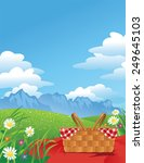 picnic in the mountains | Shutterstock .eps vector #249645103