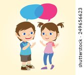 kids conversation with bubble... | Shutterstock .eps vector #249656623