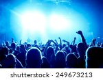 silhouettes of concert crowd in ... | Shutterstock . vector #249673213
