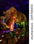"""Small photo of Portland, Oregon, United States - AUGUST 2, 2014: A lively Allosaurus is on exhibition as part of """"Dinasours Unearthed"""" in Oregon Museum of Science and Industry."""