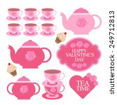 valentines day tea party... | Shutterstock .eps vector #249712813