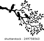 tree silhouette with bird | Shutterstock .eps vector #249758563