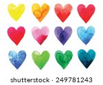 watercolor vector hearts | Shutterstock .eps vector #249781243