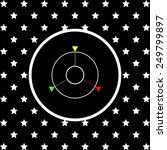 white stars and a white circle...