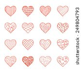 set of hand drawn doodle hearts.... | Shutterstock . vector #249804793